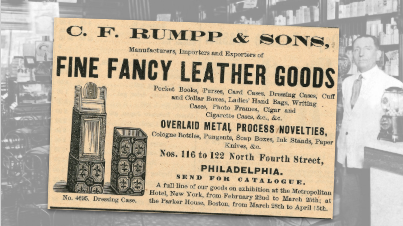 C.F. Rumpp & Sons Fine Fancy Leather Goods Vintage Ad