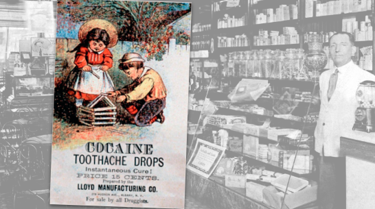 Cocaine toothache drops vintage trading card