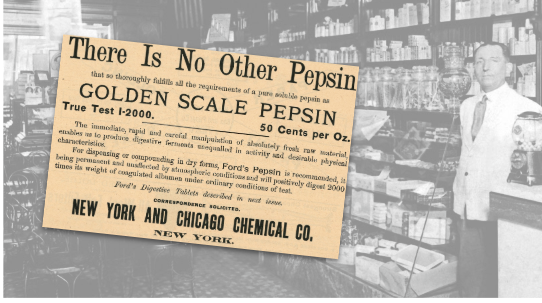 Golden Scale Pepsin Vintage Ad