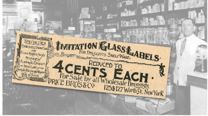 Imitation Glass Labels Vintage Ad