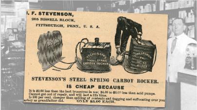 J.F. Stevenson Steel Spring Carboy Rocker Vintage Ad