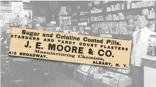 J. E. Moore & Co. Sugar and Gelatine Coated Pills Vintage Ad