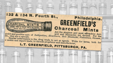 L.T. Greenfield Charcoal Mints Vintage Ad