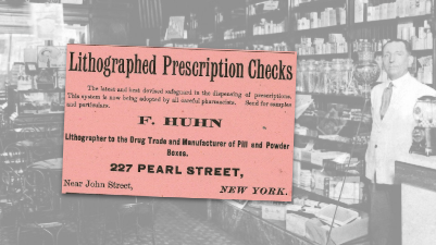 Lithographed Prescription Checks Vintage Ad