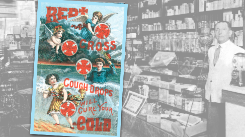 Red Cross Cough Drops Vintage Ad