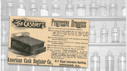 The Cashier Vintage Pharmacy Ad