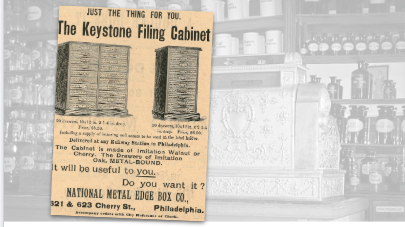 The Keystone Filing Cabinet Vintage Ad