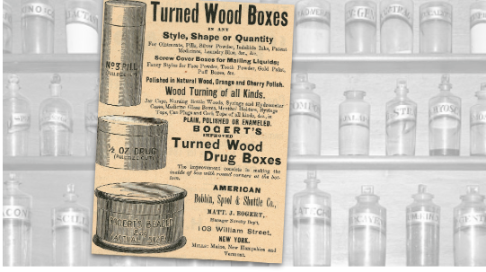 Turned Wood Boxes Vintage Ad